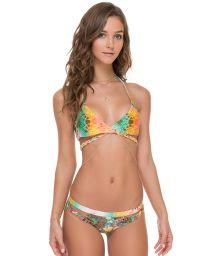 Reversible multi-coloured bikini, cross front top - PAISLEY CROSS