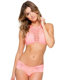 Crochet crop top bikini coral/gold coloured, lace-up back - PARADISE SPORTY CORAL