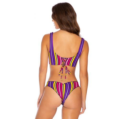 Fixed scrunch bikini with bra top in colorful stripes - PARTY RUCHED MULTICOLOR