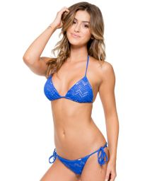Blue/gold crochet scrunch Brazilian bikini - PRINCESS ELECTRIC
