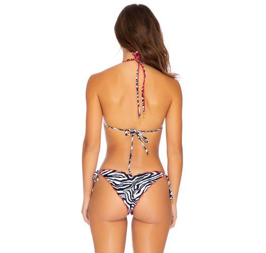Wende-Scrunch-Bikini mit Zebra-Print/Schwarz - QUEEN BRAZILIAN PERLA