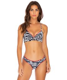 Reversible zebra / black underwired balconette bikini - QUEEN WAVY PERLA