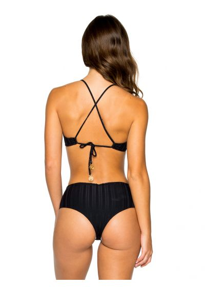 Svart, brasiliansk bikini med hög midja och öglor - RING BLACK TIRI TURAI