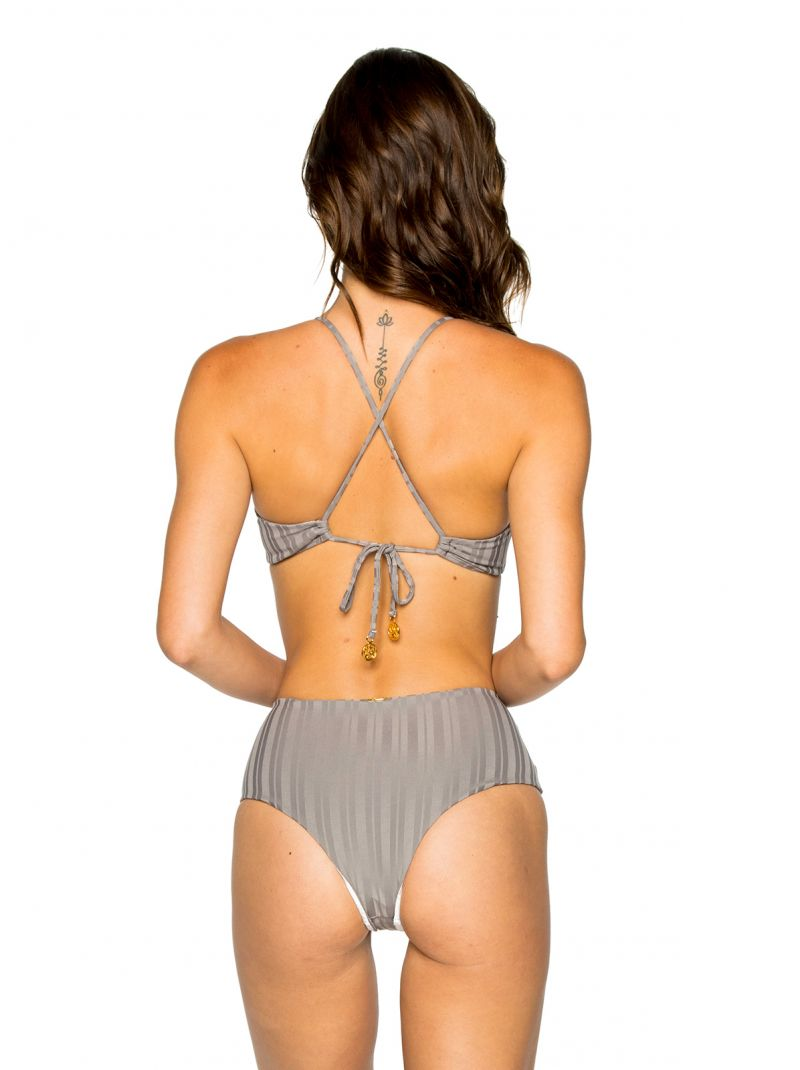 Grey high-waisted bikini with crossed back and ring detail - RING GREY TURI TURAI