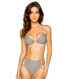 Grey high-waisted bikini with crossed back and ring detail - RING GREY TURI TURAI