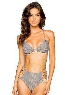 Bikini grigio slip vita alta top incrociato dietro e dettaglio anelli - RING GREY TURI TURAI