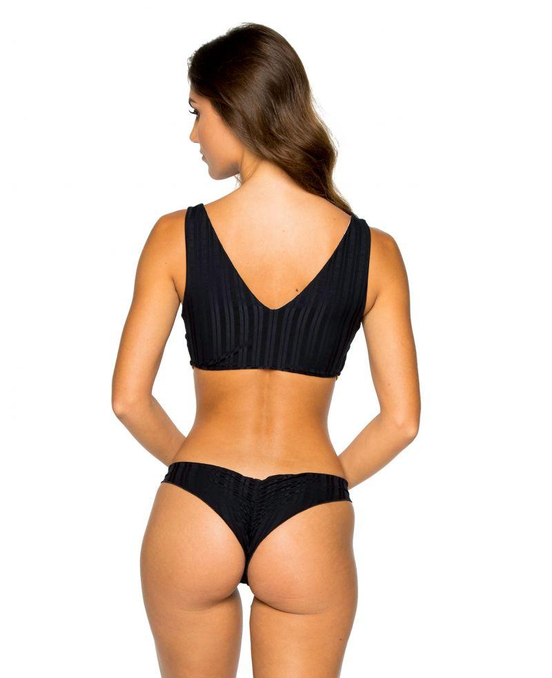 Bikini i BH-modell, svartrandig ton-i-ton - RUCHED BLACK TIRI TURAI