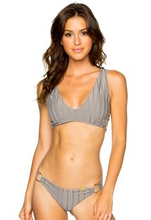 Bikini, grau, gestreift, Ton in Ton - RUCHED GREY TURI TURAI