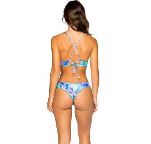 Reversible Brazilian scrunch bikini - mermaid print - RUCHED SIRENAS