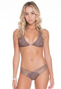 Bikini triangle foulard taupe texturé - SANDY TOES