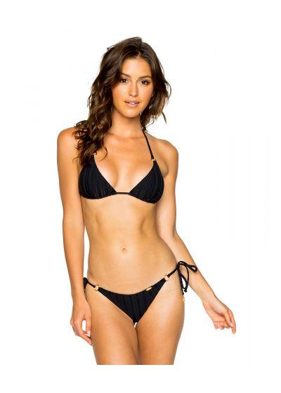 Skrynklad brasiliansk bikini, svartrandig ton-i-ton - SEAMLESS BLACK TIRI TURAI