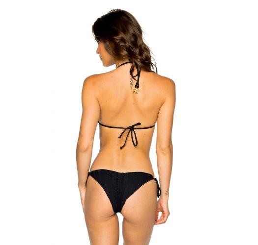 Brasilianischer Scrunch-Bikini, gestreift, schwarz, Ton in Ton - SEAMLESS BLACK TIRI TURAI