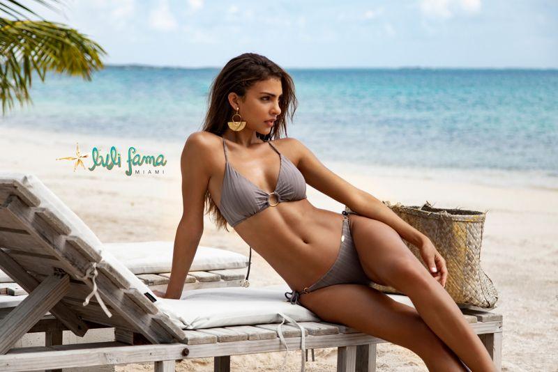 Vändbar, skrynklad brasiliansk bikini med grå ränder ton-i-ton - SEAMLESS GREY TURI TURAI