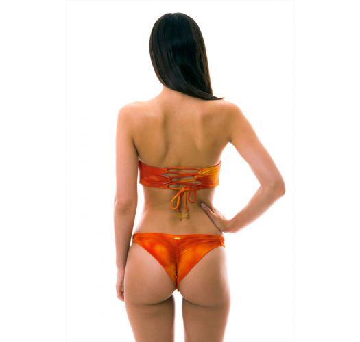 Бикини оранжевого цвета со стёганым лифом-бандо на шнуровке - SOL Y ARENA STRAPPY