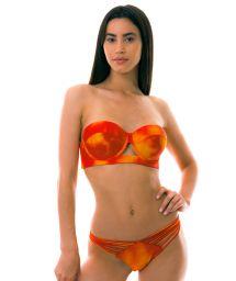 BBS X LULI FAMA Orange tie-dye bandeau bikini with laced back - SOL Y ARENA STRAPPY