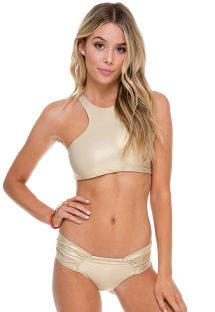 Shiny gold crop top bikini with lace-up back - SPORTY GOLD RUSH
