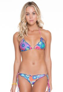 Mandala coloured scrunch bikini with ruched edges - TURMALINA