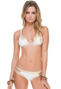 Bikini con schiena incrociata, in bianco e oro - WARRIOR WHITE