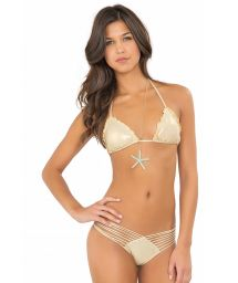 Gold-coloured Brazilian swimsuit with multi-straps - WAVEY STRAPPY GOLD