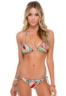 Bikini, scrunch, flerfarget etnisk og strass - WILD HEART