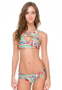 Multicoloured reversible crop top bikini - WILD HEART STRAPPY