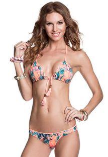 Bikini a triangolo double face, con pompon - APRICOT SUNDAZE