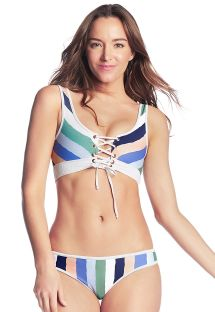 Front - back reversible crop top bikini - CIELO BRANCO