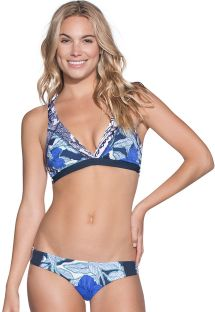 Bikini de top triangular estampas mixto azul - COCONUT VALLEY