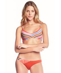 Colorful stripes bikini with adjustable straps - CREME DE PAPAYA