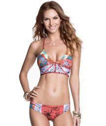 Sports bra style bikini, T back, mixed prints - DANCE FEVER