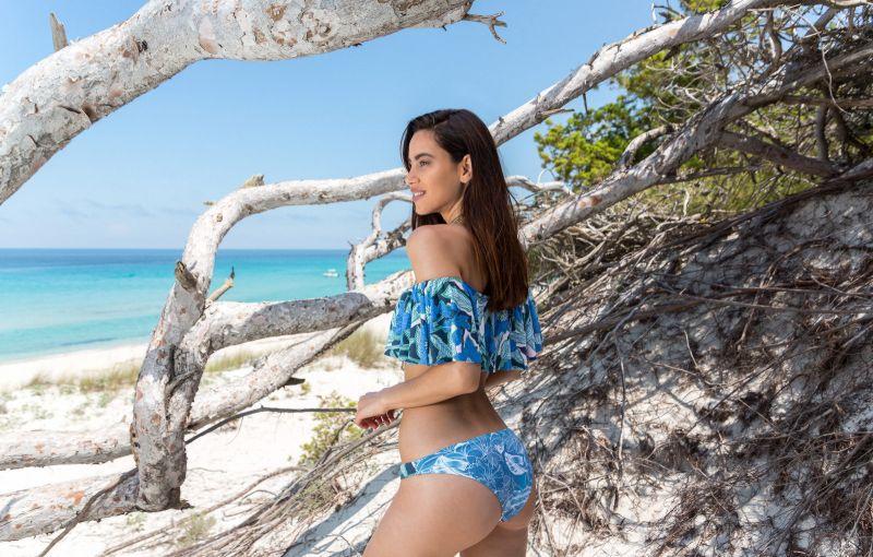 BBS X MAAJI - blå tryckt bikini i Bardot stil - FLORAL MANDALA
