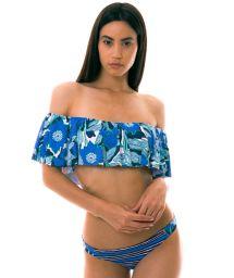 BBS X MAAJI - Bikini bandeau off shoulder imprimés bleus - FLORAL MANDALA