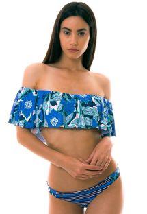 BBS X MAAJI - blåmønstret bikini i Bardot-stil - FLORAL MANDALA