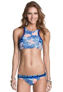 Printed crop top swimsuit, mixed shades of blue - FUNKY JELLIES