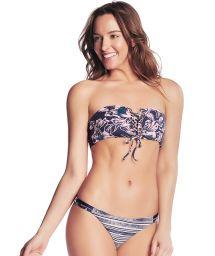 Reversible bandeau bikini in navy & mixed print - JAZZ BAND