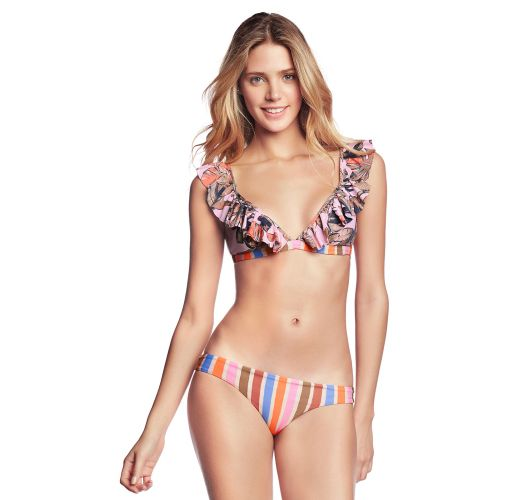 Strappy / floral bikini with ruffled top - LARANJA FRILLS