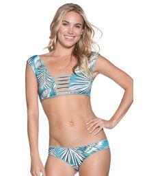 Strappy reversible palm-print bra-style bikini - LILY PAD DIVINE