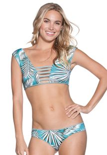 Vendbar bikini med bh-top, pyntestropper og palmemotiver - LILY PAD DIVINE