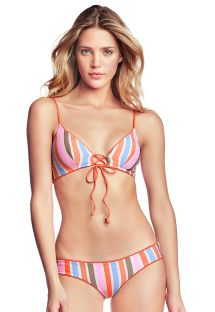 Reversible orange / colorful stripes bikini - MANDARIN SPELL