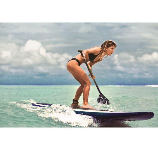 Reversible black / printed high leg black bikini - METEORITE VICTORY