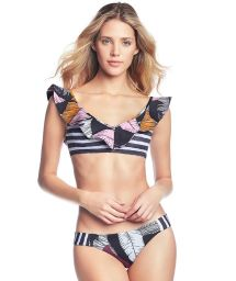Printed bikini with a reversible ruffled crop top - NITEROI NITE