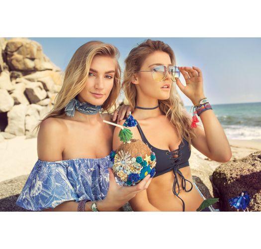 Bikini con top sportivo con laccio reversibile palme/blu - STARGAZER DAZZLING