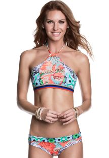 Crop top and tanga bikini in mixed prints - STAYIN ALIVE