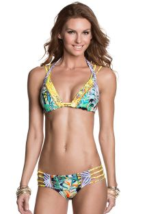 Strappy swimsuit in mixed yellow prints - SUNNY LEMONADE