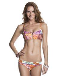 Multicoloured print bikini with zipper front bra style top - SUPER FLY PALMS