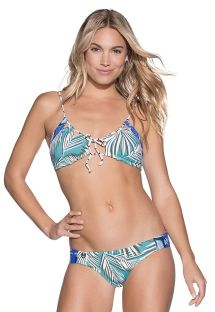 Bikini we wzór palmowych liści z biustonoszem wiązanym z przodu - TROPIC FOLIAGE