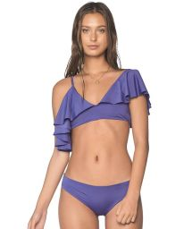 Ruffled purple crop  bikini with multi-position straps - ALAND SODALITE BLUE