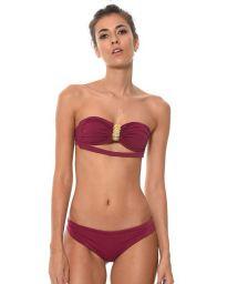 Plum bandeau top bikini with gold pineapple accessory - AURUM SANGRIA