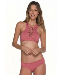 Pink crop top bikini with a criss cross detail neckline - AWE ROSE