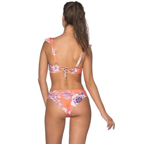 Orange floral ruffled bikini with decorative straps - BALEARIC BLOSSOM LILAS
